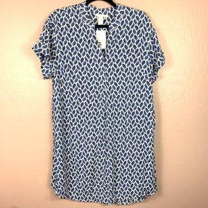 NEW H&M Shift Dress Leaf Print Blue Size 6